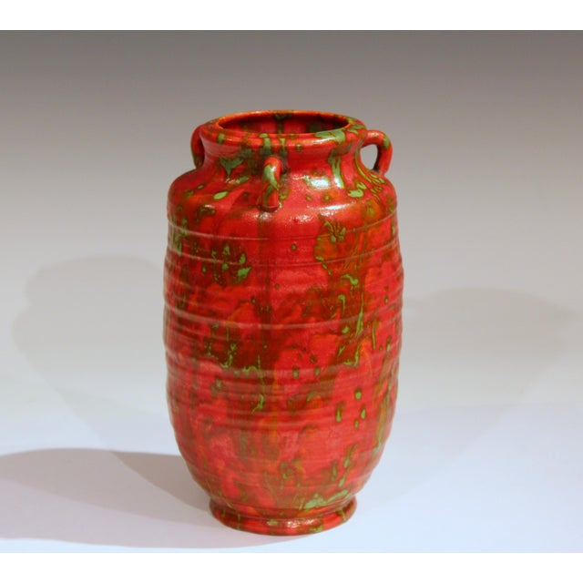 Red Awaji Pottery Atomic Chrome Red Art Deco Hot Lava Japanese Vase For Sale - Image 8 of 11