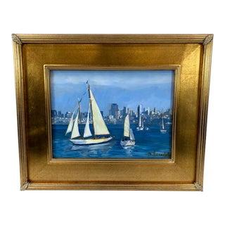Framed Original Oil on Masonite Sailboats in Sausalito For Sale
