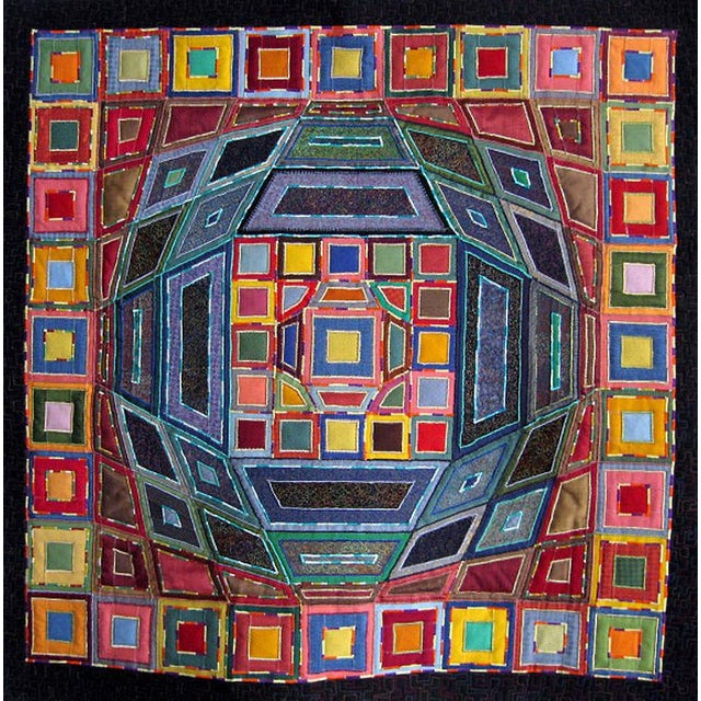 Blue 2007 Op Art Victor Vasarley Modern Tapestry Wall Hanging Fiber Art Signed Made in Italy For Sale - Image 8 of 9