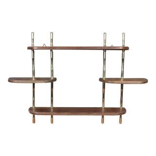 Mid Century Modern Brass Knob Wood Tiered Hanging Wall Shelf For Sale