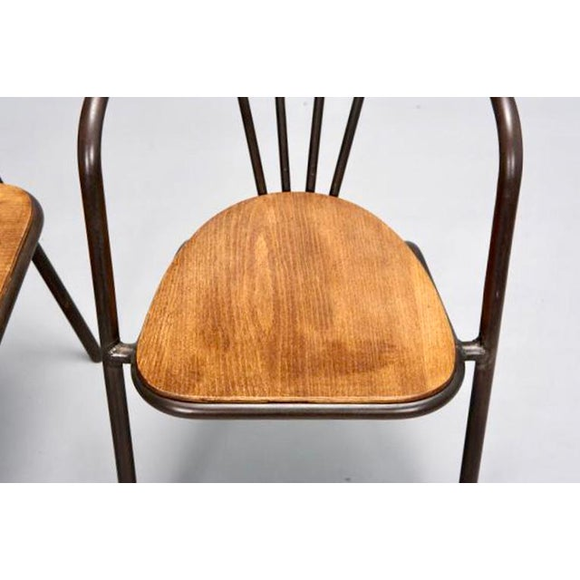 Mid-Century Metal and Wood Armchairs - Set of 6 For Sale In Detroit - Image 6 of 9