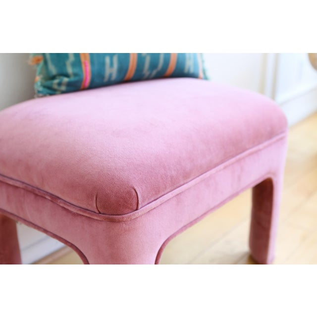 Vintage Pink Velvet Vanity Stool For Sale - Image 4 of 4