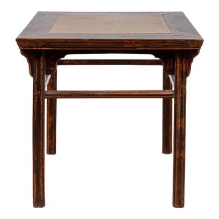 Chinese 19th Century Elmwood Center Hall Table with Ming Dynasty Stone Inset For Sale