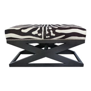 """Barclay Butera Home """"Bel Air"""" Ottoman With Zebra Print Upholstery"""