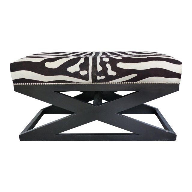"""Barclay Butera Home """"Bel Air"""" Ottoman With Zebra Print Upholstery For Sale"""