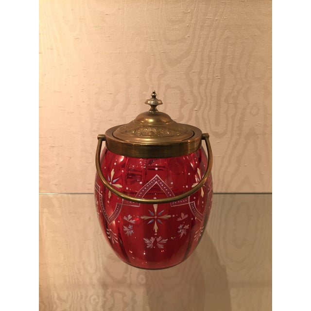 19th Century Biscuit Barrel Hand Enameled Cranberry Glass W/ Brass Lid & Handle For Sale - Image 11 of 11