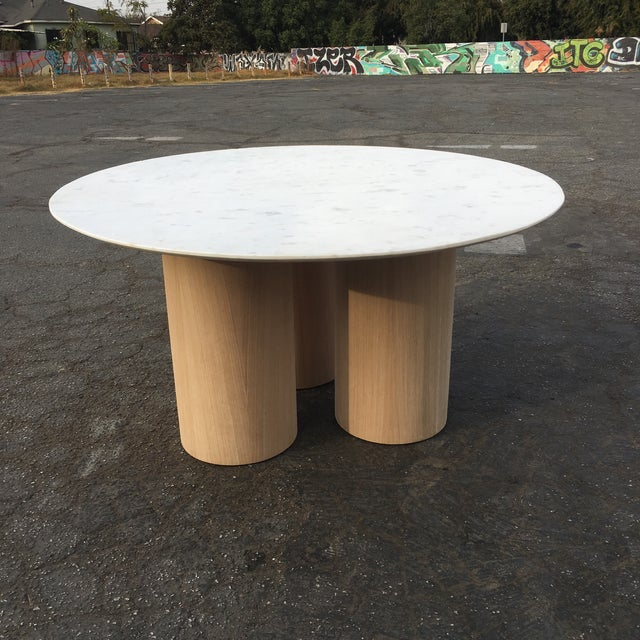 Not Yet Made - Made To Order Oversized Pillar Marble Dining Table in White Oak For Sale - Image 5 of 13