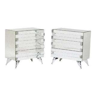 Pair of Hollywood Regency Style Mirrored Chests
