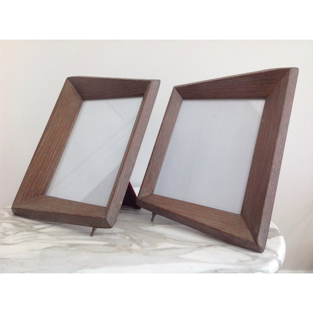 1940s 1940's Cerused Oak Modern Picture Frames - a Pair For Sale - Image 5 of 5