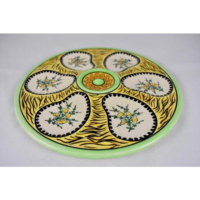 Henriot Quimper French Faïence Fouillen Quimper Floral Oyster Plate For Sale - Image 4 of 7