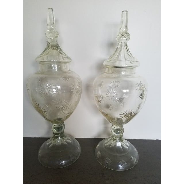 """Pair 30"""" Tall Cut Crystal Glass Lidded Apothecary Jars For Sale - Image 10 of 11"""