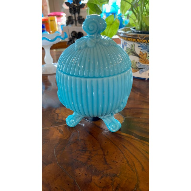 A lovely round Portieux Vallerysthal candy dish in blue opaline from France.
