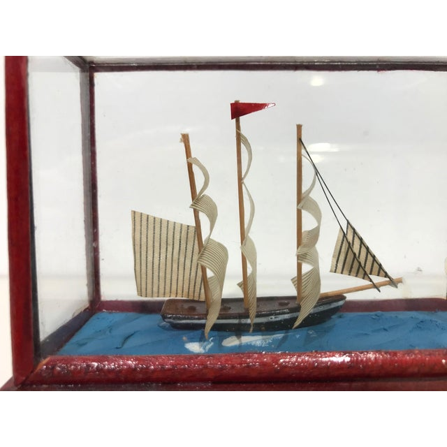Miniature Model Sailing Ship in Wood & Glass Case - Image 9 of 11
