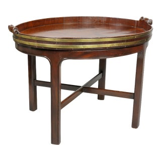 Georgian Mahogany Brass Bound Tray Table For Sale