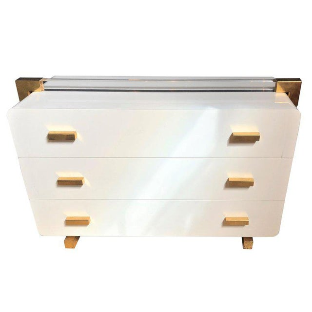 One of a Kind Metal Lacquered and Lucite Important Italian Commode or Dresser For Sale - Image 13 of 13