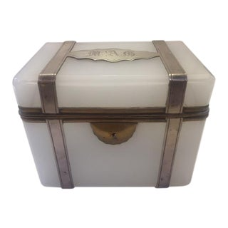 1900s Sterling Mounted Frencvh Opaline Box Box For Sale