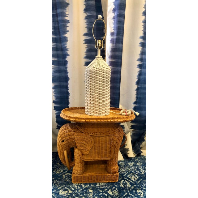 Boho Chic Vintage Wicker Rattan Hollywood Regency Table Lamp With Jute Shade For Sale - Image 3 of 4