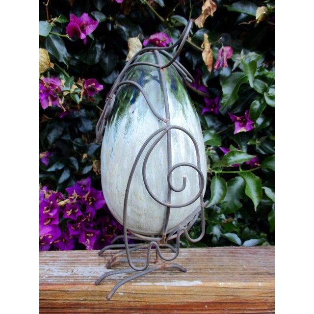 Ceramic Glazed Owl on Wire Stand - Image 3 of 10