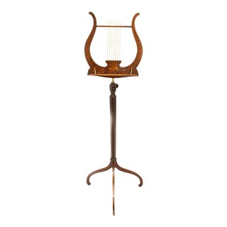 Sheraton Mahogany Music Lyre Stand For Sale