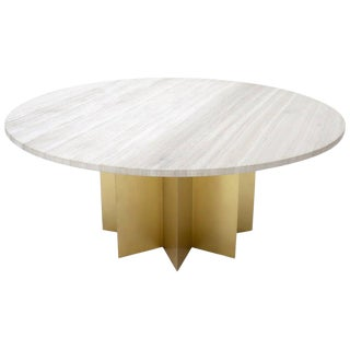 "72"" Diameter 1"" Travertine Marble-Top Round Dining Conference Table Star Base For Sale"