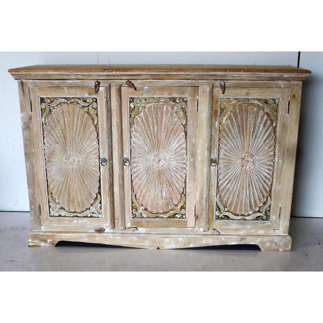 Wood 1990s Vintage Wooden Carved White Wash Cabinet For Sale - Image 7 of 7