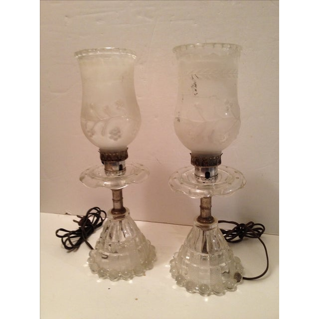 Glass Lamps and Shades - A Pair - Image 2 of 5