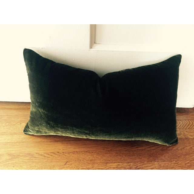 """Offered is one moss green 100% silk velvet pillow cover. Recommended for lumbar pillow insert size 12x18"""" (not included)...."""