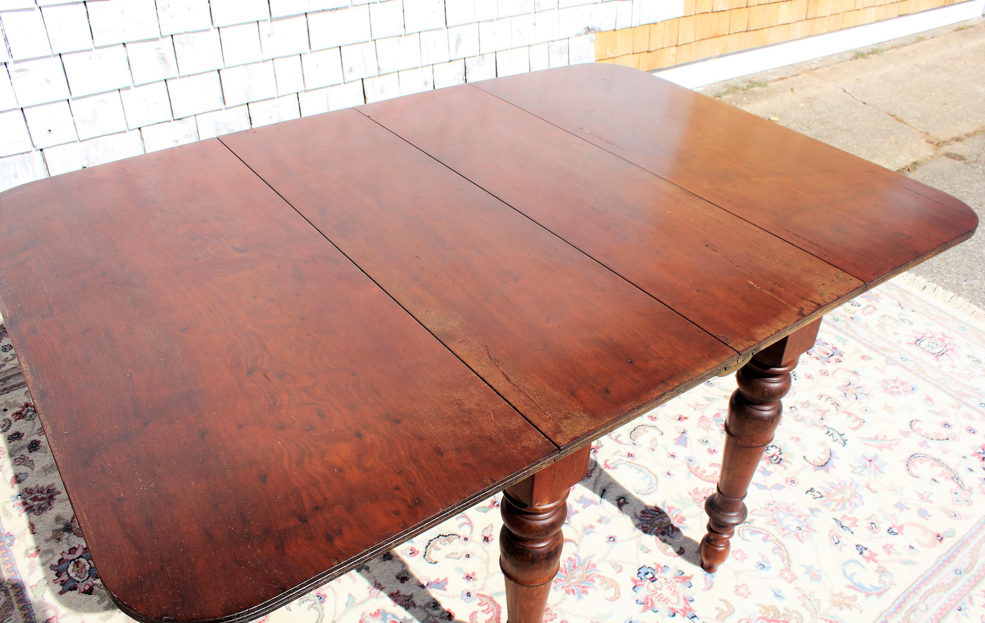 Gentil Antique English Mahogany Dining Farm Table Turned Legs For Sale   Image 4  Of 13