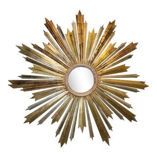 Large Italian Late 19th Century Sunburst Mirror For Sale
