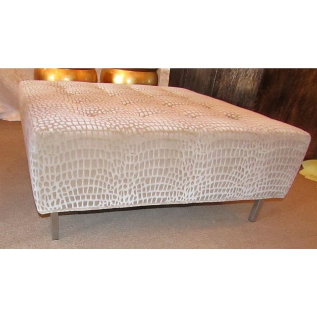 Large (38 x 38 ) Ottoman with Upholstered top by Thayer Coggin. The Ottoman has a custom order Venato Platinum Upholstery...