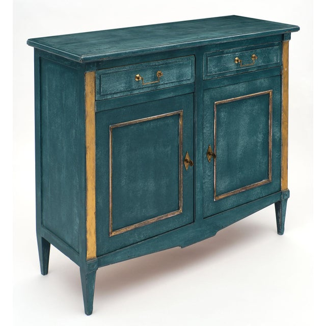 French Antique Directoire Style Teal Buffet For Sale - Image 3 of 10