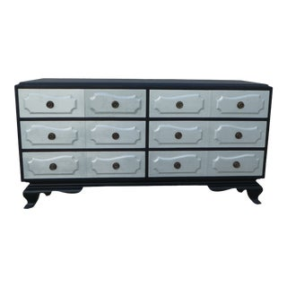 1940s Vintage Grosfeld House Hollywood Regency Silver Leaf & Black Stain Long Chest of Drawers For Sale