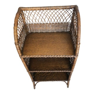 Early 20th Century Country Natural Wicker Three Shelf Shelving Unit