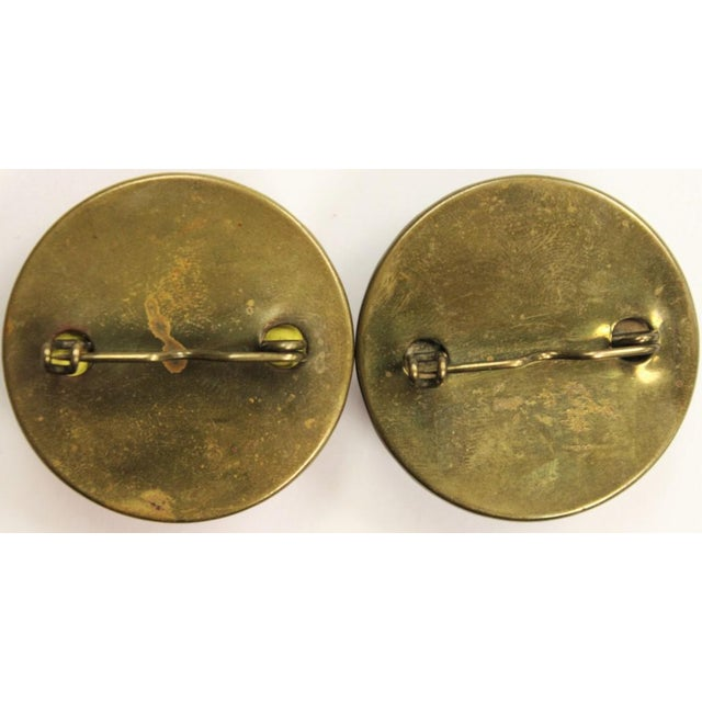 """Red & Blue """"Jockey Cap"""" Brass Harness Buttons - A Pair For Sale - Image 5 of 5"""