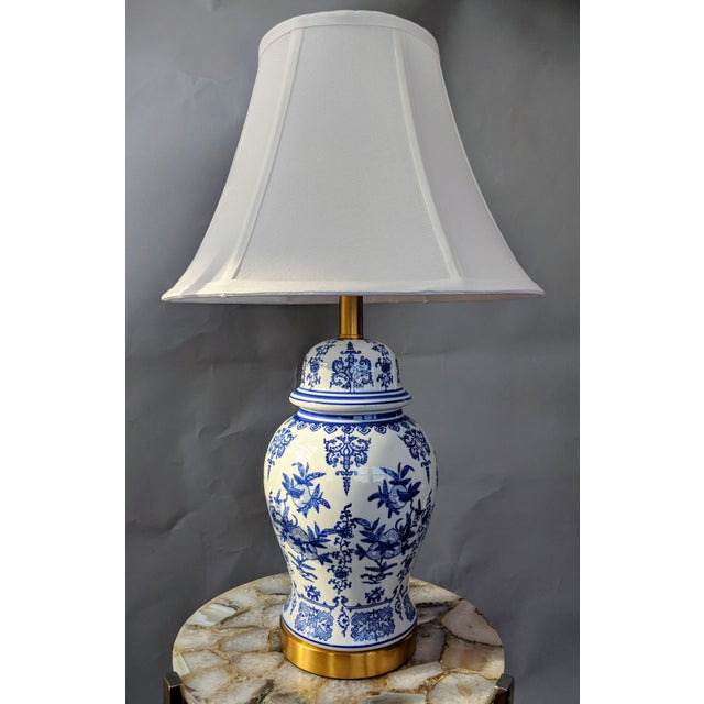 Blue and White Ceramic Lamp For Sale - Image 13 of 13