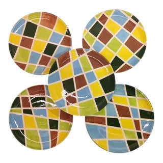Todd Oldham Vintage Multi-Color Dishes - Set of 5 For Sale