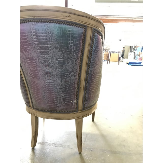 Metallic Embossed Leather and Carved Lounge Chair For Sale - Image 4 of 5