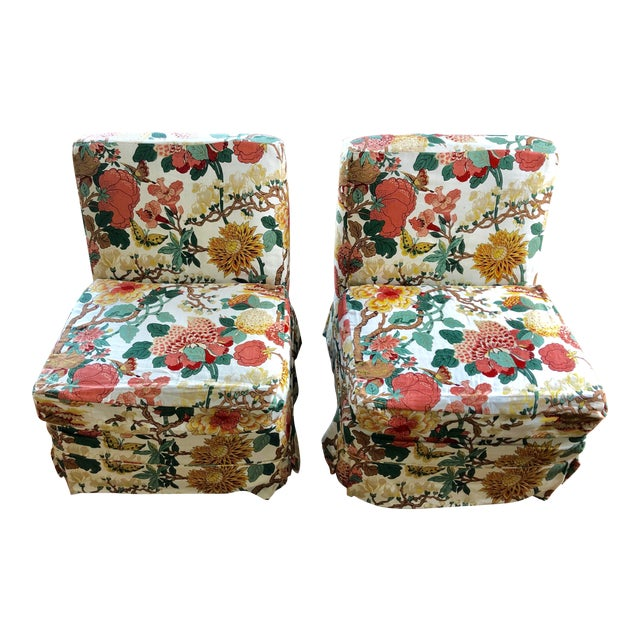 Floral Slipper Chairs - A Pair For Sale