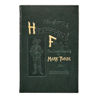 """Adventures of Huckleberry Finn"" by Mark Twain, Traditional Leather Book in Green For Sale"