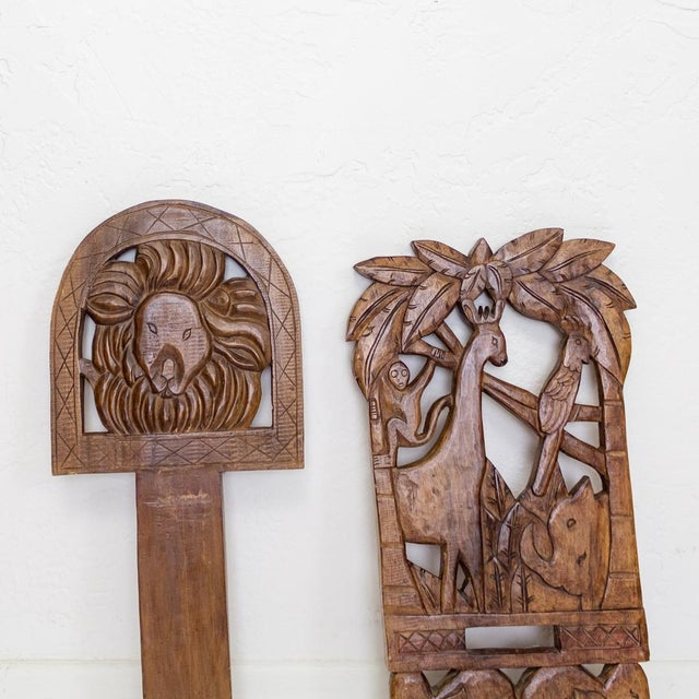 Childs Hand Carved African Chair | Two Piece Palaver Camp Chair For Sale - Image 10 of 11