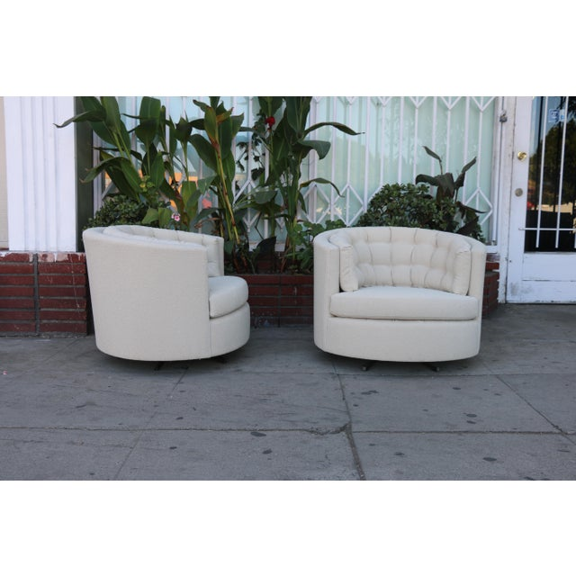 Mid-Century Modern Milo Baughman Style Swivel Chairs - A Pair For Sale - Image 3 of 10