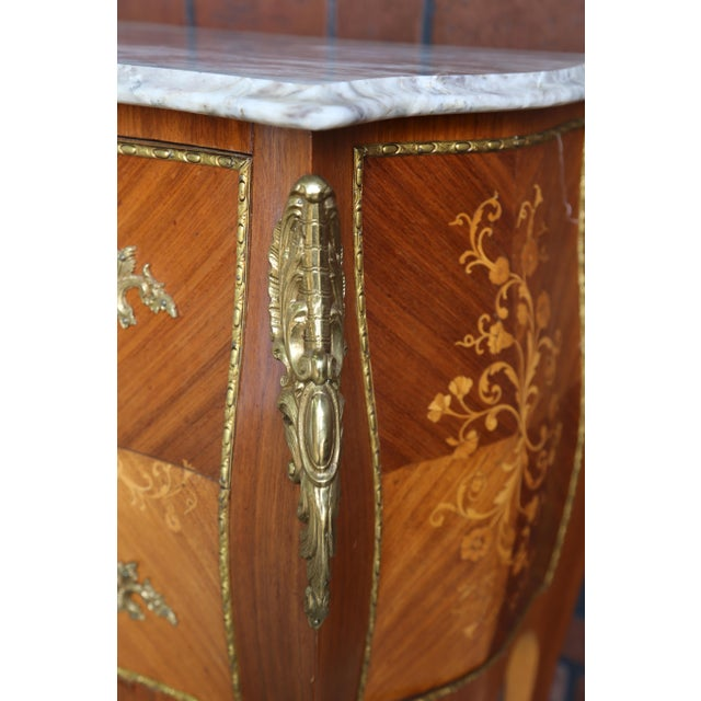 1900s Antique French Rococo Marble Top Nightstands-a Pair For Sale - Image 9 of 12