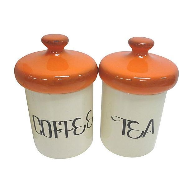 Mid-Century Orange Ceramic Canisters - Set of 4 - Image 3 of 4