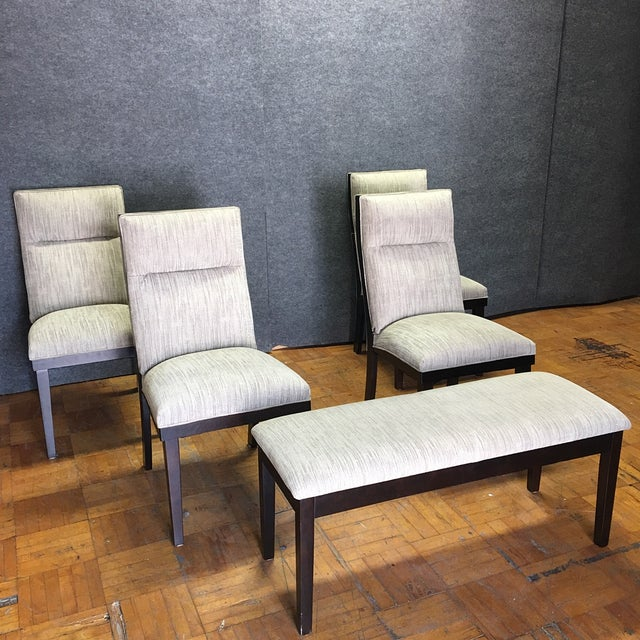 Modern Dining Chairs With Bench - Set of 5 - Image 2 of 11
