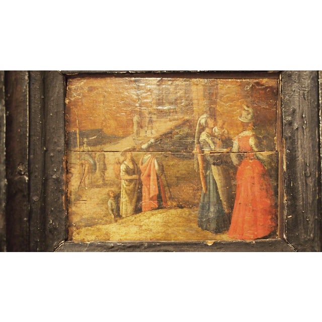 Renaissance Oil on Board Painting of Figures in Front of a Walled City - Image 3 of 7