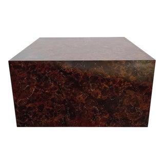 Vintage Milo Baughman Faux Stone Cube Coffee Table For Sale
