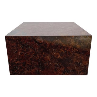 Vintage Milo Baughman Style Faux Stone Cube Coffee Table For Sale