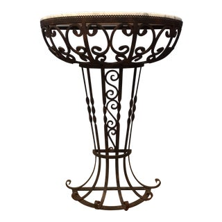 1980s Art Nouveau Marble & Iron Console Table For Sale