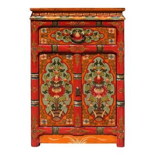 Orange Yellow Turquoise Tibetan Floral End Table Nightstand Cabinet For Sale