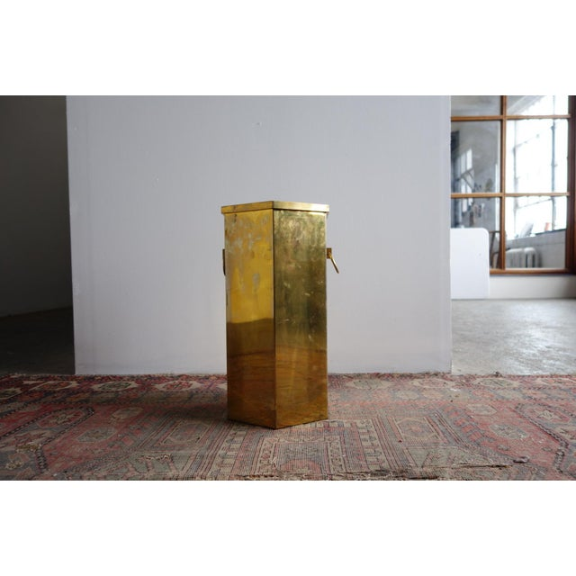 Gold Vintage Brass Umbrella Stand For Sale - Image 8 of 8